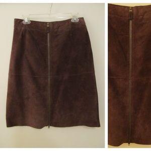 Isaac Mizrahi Brown Zipper Genuine Leather Skirt 6